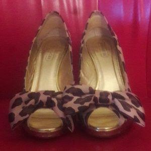 Cheetah print bowtie peep toe heels